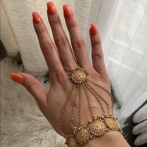 Coin hand chain ring bracelet